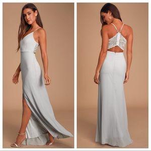 NWT Lulu's Backless lace maxi dress
